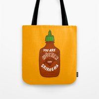 sriracha Tote Bags featuring Sriracha Valentine by Leah Doguet