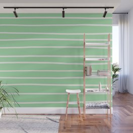Linen Off White Hand Drawn Line Pattern on Pastel Green Pairs to 2020 Color of the Year Neo Mint Wall Mural
