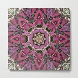 Autumn Leaves Kaleidoscope - White Ash Metal Print