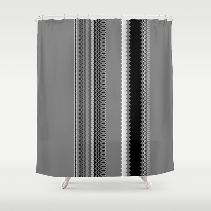 Gray Stripes Abstract Shower Curtain