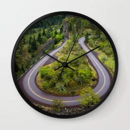 Rowena Crest Loops - Columbia River Gorge - Oregon Wall Clock