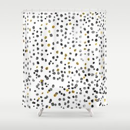 Dots Gold Black and White Shower Curtain