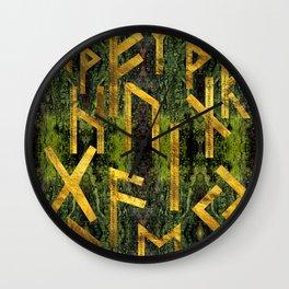 Vintage Gold Runic alphabet on tree bark Wall Clock