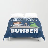 anaconda Duvet Covers featuring Unless you've got bunsen!  by Jimmy Rogers