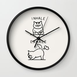 Inhale Exhale Cat Wall Clock
