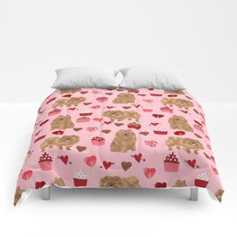 Pomeranian valentines day love hearts cupcakes pattern cute puppy dog breeds by pet friendly Comforters