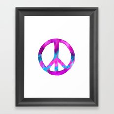 Purple Blue Watercolor Peace Sign Framed Art Print