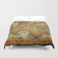 "pirates Duvet Covers featuring Pirates Map by ""CVogiatzi."
