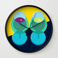 wine Wall Clocks featuring Wine by Sam Osborne