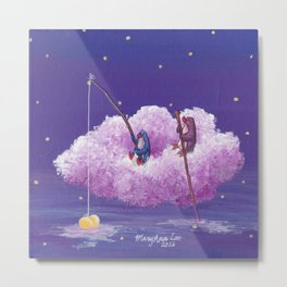 Penguins Sail Through the Stars on Their Cloud of Love Metal Print