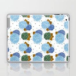 Blue green watercolor hydrangea flowers polka dots Laptop & iPad Skin