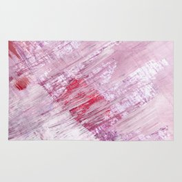 Magnetic [10]: a minimal abstract piece in gold, pink, red, white and purple Rug