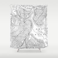 boston map Shower Curtains featuring Vintage Map of Boston (1878) by BravuraMedia