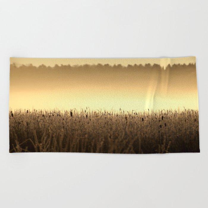 Bed Of Reeds In Golden Hour Beach Towel