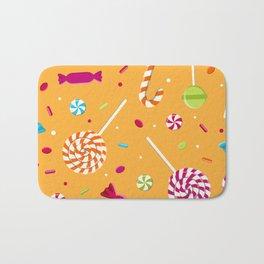 Orange Candy Pattern Gift Lollipop Bath Mat