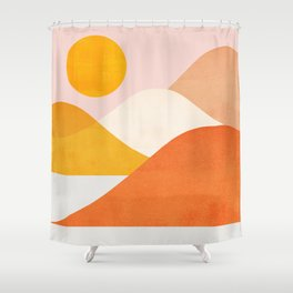 Abstraction_Mountains_Minimalism_001 Shower Curtain