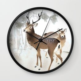Couple Of Deer Under The Full Moon - Vintage Japanese Woodblock Print Art Wall Clock