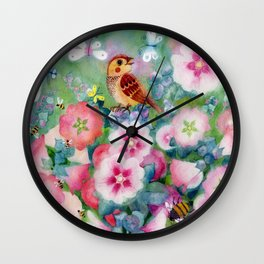 summer sparrow. original watercolour illustration Wall Clock
