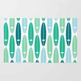 Vintage Surf Boards in Turquoise, Teal and Blue Rug