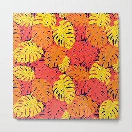 Modern tropical summer yellow orange red cheese leaves floral Metal Print