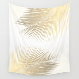 Palm leaf synchronicity - gold Wall Tapestry