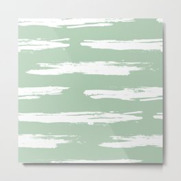 Swipe Stripe White on Pastel Cactus Green Metal Print