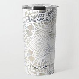 White cut-out mandala on marble Travel Mug