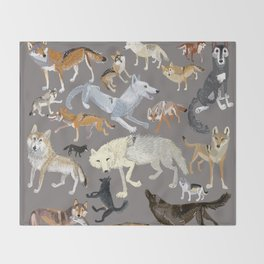 Wolves of the world (c) 2017 Throw Blanket