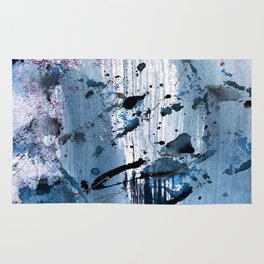 Breathe [6]: colorful abstract in black, blue, purple, gold and white Rug