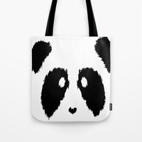 boobs Tote Bags featuring Panda Boobs by Lizard Illustration