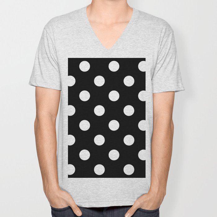 Polkadot (White & Black Pattern) Unisex V-Neck