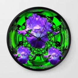 Delicate Lilac-Black-Green Purple Iris Garden Design Wall Clock