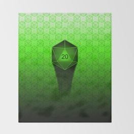 D20 All I Do Is Crit!  Green Ombre Throw Blanket