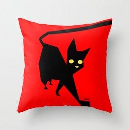 The Strut (Black Cat) Throw Pillow