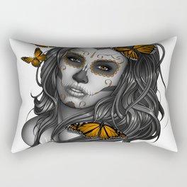 Sugar Skull Tattoo Girl with Butterflies Rectangular Pillow