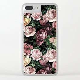 Vintage & Shabby chic - dark retro floral roses pattern Clear iPhone Case