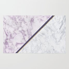 Lavender white faux gold abstract geometric marble Rug
