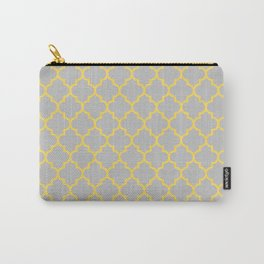 Mustard Yellow Moroccan Quatrefoil On Silver Gray Carry-All Pouch