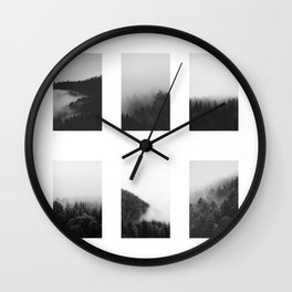 The Forests in Fog and Black and White Wall Clock