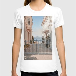 LANDSCAPE PHOTOGRAPHY OF GREY STEEL GATE T-shirt
