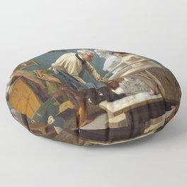 Jean-Léon Gérôme - Working in Marble, or The Artist Sculpting Tanagra Floor Pillow