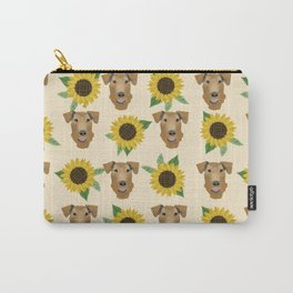 Airedale Terrier Sunflower floral print cute dogs and flowers design Carry-All Pouch