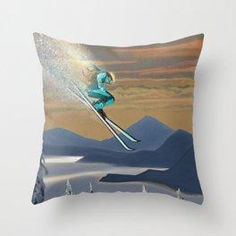 Ski Silver Star Throw Pillow