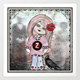 Zombie Girl with Spirits Art Print
