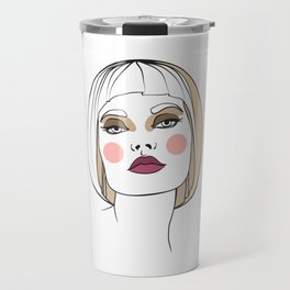 Blonde woman with makeup. Abstract face. Fashion illustration Travel Mug