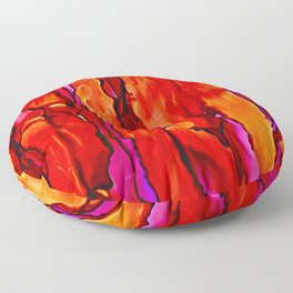 Reverie in Red Yellow and Violet Floor Pillow