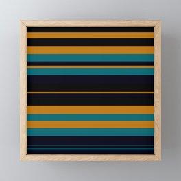 Pattern Formes Bandes Jaune/Bleu Framed Mini Art Print
