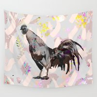 chicken Wall Tapestries featuring Chicken Abstract by MINTSENSEART