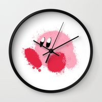 kirby Wall Clocks featuring Kirby Splatter ~ ☆ by Kiera Marie