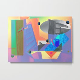 Bright Colored Abstract Digital Photography Collage Metal Print